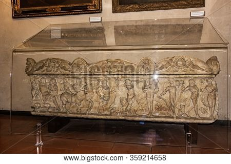 Verona, Italy - September 26, 2015 : Stone Sarcophagus Decorated With Stone Carvings  At An Exhibiti