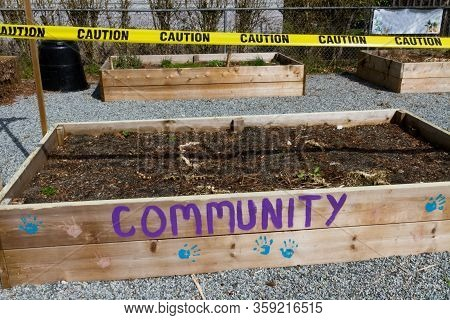 Community Garden Closed And Caution Taped Off Due To Covid-19