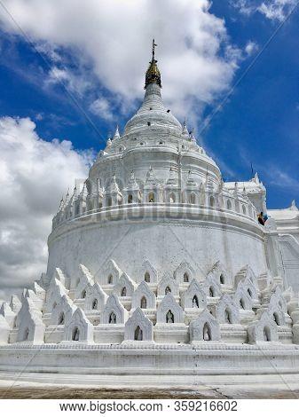 Hsinbyume Pagoda (mya Thein Tan) Beautiful White Pagoda In Mingun Near Mandalay City, Myanmar