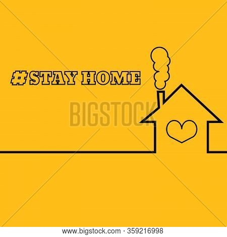 Stay Home Tag Poster With Text Vintage Style Illustration Vector Eps 10