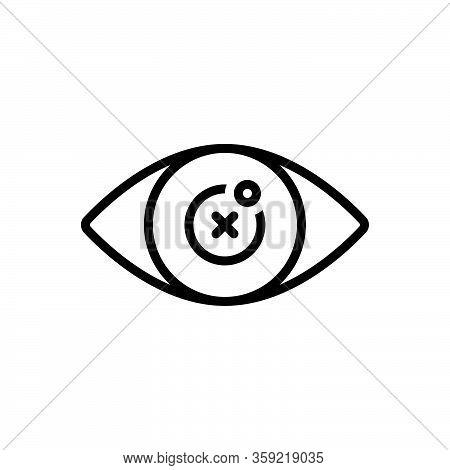 Black Line Icon For Blind Eye Blindness Retina Optical Sightless Viewless Eyeless