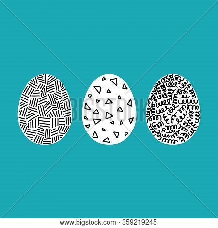 Vector Illustration Of Easter Eggs. Set Of Easter Eggs Decorated With Dashes, Triangles, Kinks On A