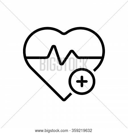 Black Line Icon For Relief Heart Comfort Ease Convenience Care Humanitarian Awareness Medical Health