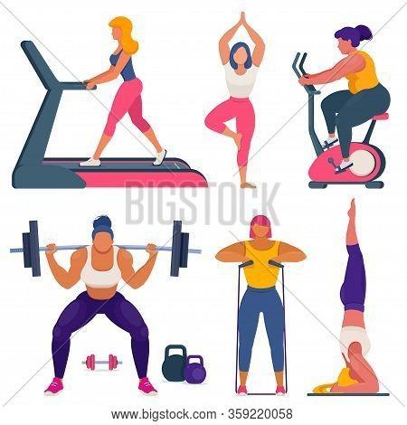 Fitness Women Different Sizes Doing Sports. Yoga, Bodybuilding, Fitness, Training On Stationary Bike