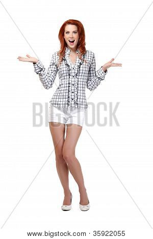 Excited Redhead Woman Isolated On White