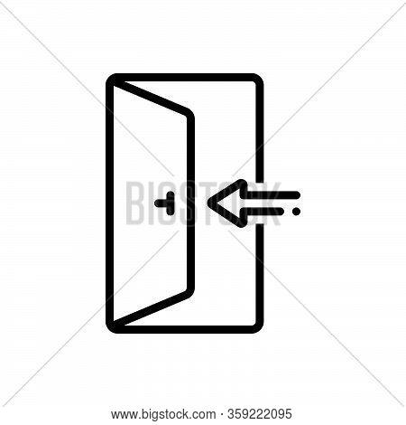 Black Line Icon For Enter Knob Door Open Door-way Entering Entrance Arrow Go-in Come-in