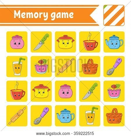 Memory Game For Kids. Education Developing Worksheet. Activity Page With Pictures. Puzzle Game For C