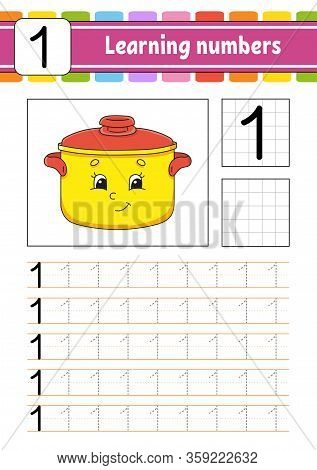 Number 1. Trace And Write. Handwriting Practice. Learning Numbers For Kids. Education Developing Wor