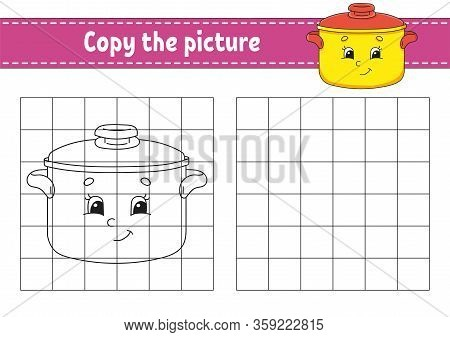Copy The Picture. Stewpan. Coloring Book Pages For Kids. Education Developing Worksheet. Game For Ch