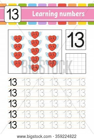 Number 13. Trace And Write. Handwriting Practice. Learning Numbers For Kids. Education Developing Wo