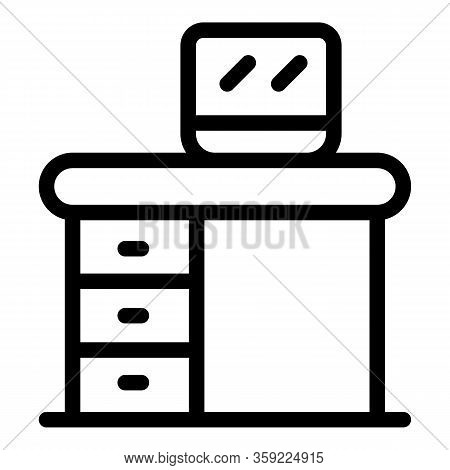 Kid Room Desktop Icon. Outline Kid Room Desktop Vector Icon For Web Design Isolated On White Backgro