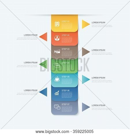 7 Data Step Infographics Timeline Tab Paper Index Template. Vector Illustration Abstract Background.