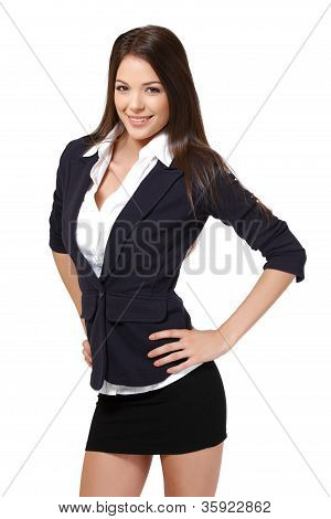 Happy Business Woman Isolated On White