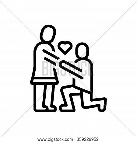 Black Line Icon For Couple Valentines Day Propose Heart Put-forward Kneel Love Lover Celebration Dat