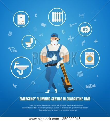 Emergency Plumbing Service In Quarantine Time. Handsome Company Plumber Service With Wrench. Vector