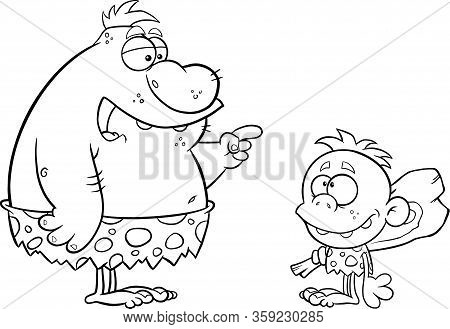 Black And White Caveman Father Talking To Caveman Boy. Raster Illustration Isolated On White Backgro