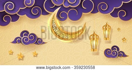 Eid Mubarak Greeting With Crescent And Stars For Islamic Holiday. Greeting Card For Islam Festive. E