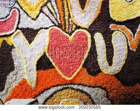 You Love You,colorful Candles Making On Texture Background With Heart Shape.