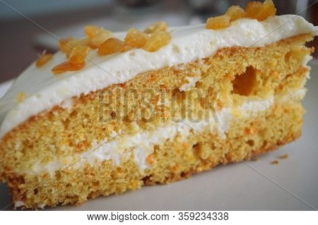 Yummy Hunk Of Biscuit Cake With White Cream Sweet Food Macro Photo