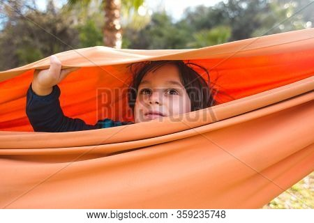 Cute Boy Is Sitting In A Hammock. Portrait Of A Brown-eyed Child. The Kid Is Riding In A Hammock. Th