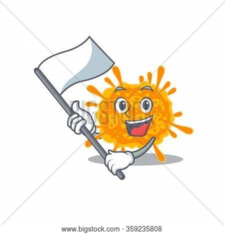 A Nationalistic Nobecovirus Mascot Character Design With Flag