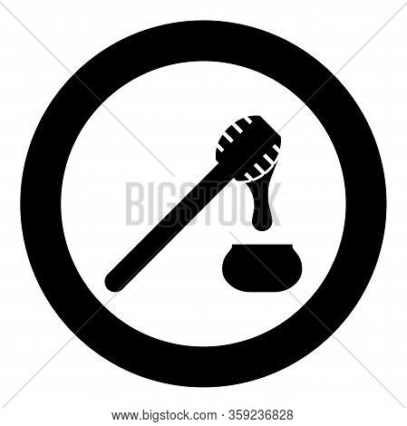 Honey Drips From Honey Spoon Into Pot Stick With Wooden And Jar Liquid Nectar Icon In Circle Round B