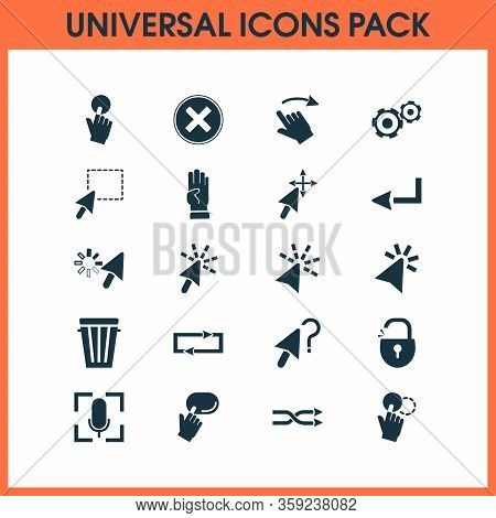 Click Icons Set With Drag Drop, Shuffle Sign, Swipe Right And Other Press Elements. Isolated Illustr
