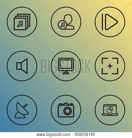 Multimedia Icons Line Style Set With Communication Antenna, Full Screen, Upward And Other Satellite