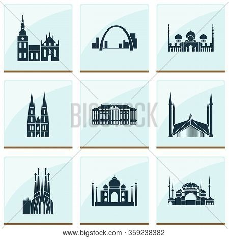 Culture Icons Set With Taj Mahal, Cologne Cathedral, Sagrada Familia And Other India Mosque Elements