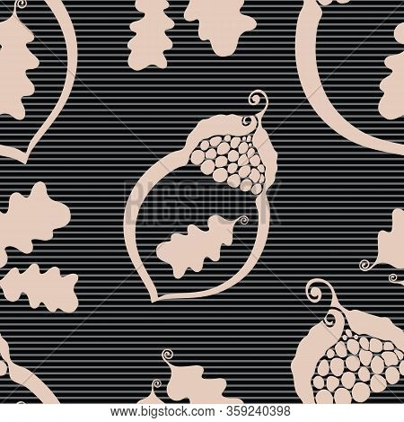 Acorn And Oak Leaves Seamless Vector Pattern Background. Elegant Nature Symbol Pink Black Textured B