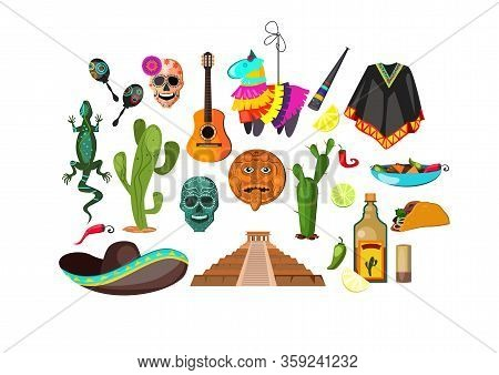 Mexican Attributes Illustration. Cloth, Accessory, National Style. Ethnography Concept. Illustration