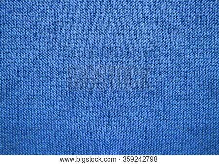 Blue Texture Fabric. Empty Azure Blue Tone Fabric Background, Grainy Grunge Cotton Material, Light B