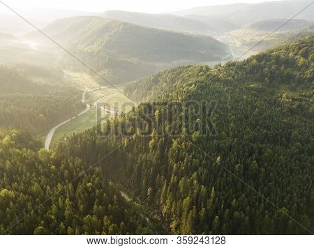 Spectacular Aerial View To Road With Moutains And Forest Captured From Above, Carpathians Mountains