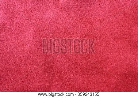 Grunge Texture Background Of Dirty Dark Red Fabric Surface. Empty Burgundy Color Cloth, Old Faded Cr