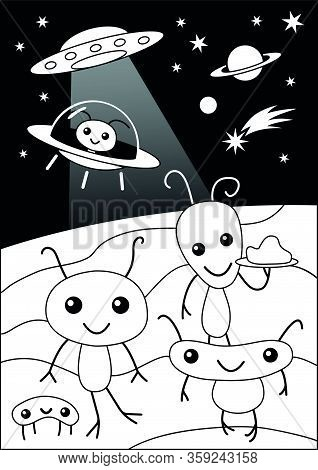 Cute Funny Alien Party Cartoon Coloring Page For Kids Party