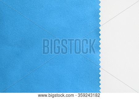 Blue Fabric Texture Swatch Isolated On White Background. Velvet Smooth Bright Blue Cloth, Natural Ma