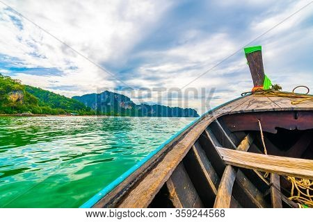 View From Long Tailed Boat In Krabi Town, Thailand. Boats Are Prepared For Passenger To Famou Railay