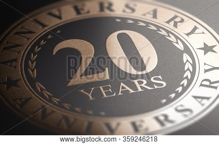 Golden Marking Over Black Background With The Text 10 Years Anniversary. Celebration Announcement. 3