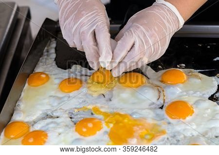 Eggs For Cooking, Top View, Natural Quick Breakfast Of Fresh Eggs. Female Hands Break Eggs For A Qui