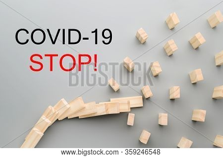 Stop Covid-19 Text. Keep Social Distance To Stop The Domino Effect. Preventive Measures To Combat Th