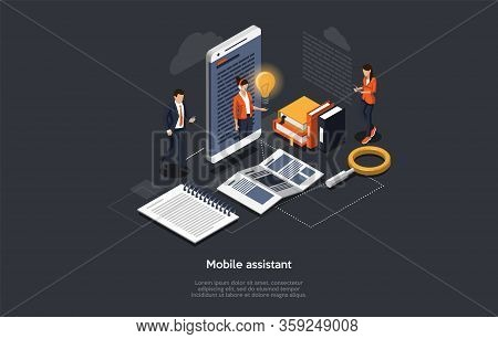Isometric 3d Mobile Assistant, Online Technical Support 24-7 Concept. Business People Have A Video C