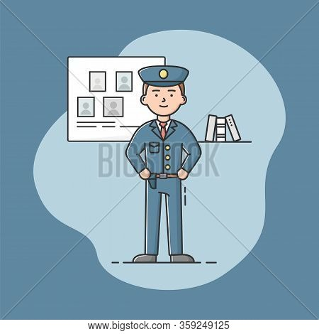 People Different Professions. National Holiday Labor Day. Policeman In Uniform. Blue Form. Confident