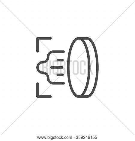 Lottery Scratch Off Line Outline Icon Isolated On White. Coin Scraping Sign. Vector Illustration