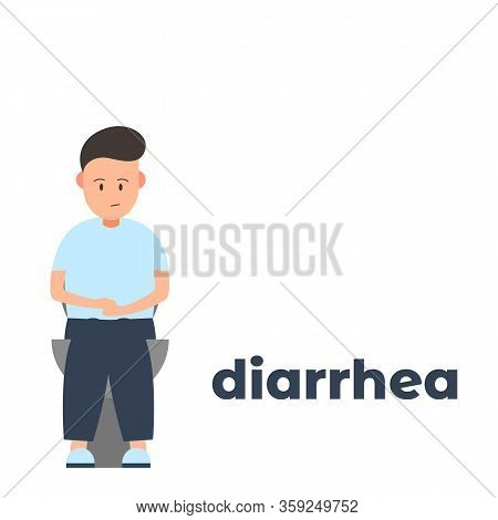 Vector Icon Of A Character Having Diarrhea Because Of The Infection. It Represents A Concept Of Medi