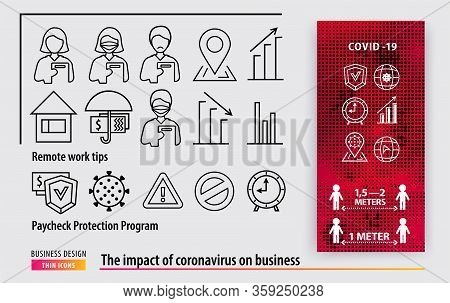 Line Black Icons. Business Support During The Coronavirus Epidemic. Remote Work Tips. Paycheck Prote