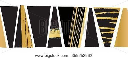 Seamless Vector Border Abstract Gold Foil Black Grunge Shapes. Metallic Golden Trapezoids Horizontal