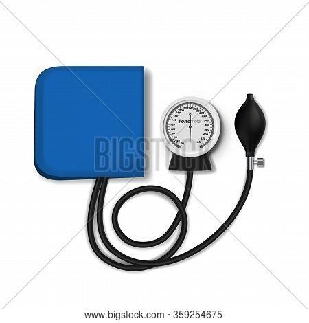 Medical Hand Analog Tonometer On White Background