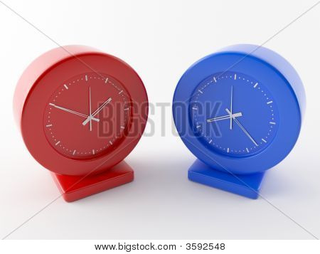 Two colored clocks. Red and Blue Time is different. poster