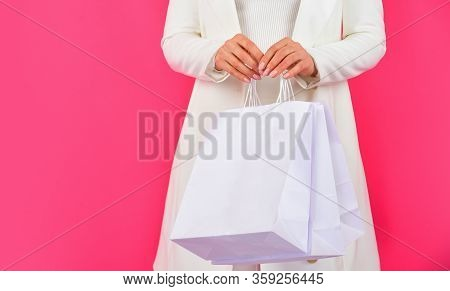 Elegant Woman Shopaholic. Girl Shopper Hold Paperbag Package. Buy Presents Online. Gift Shop For Any