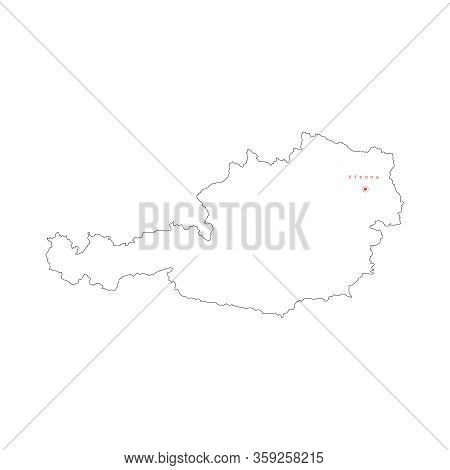 Vector Illustration Of Outline Austria Map With Capital City Vienna.